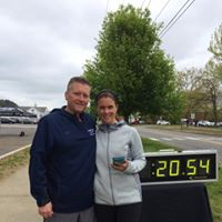"Here are the ""smarts and hearts"" of our 5K races! Tim and Jill of Fleet Feet Sports in Longmeadow! We are so thankful to them and their whole crew!!!"
